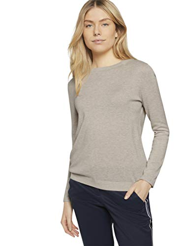 TOM TAILOR Damen Rundhals Lurex Pullover, 25105-Light Warm Beige Melange, XS