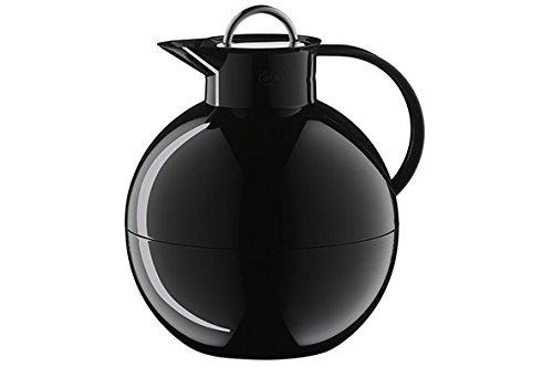 alfi Kugel, Thermoskanne Kunststoff schwarz 0,94l mit alfiDur Vakuum-Hartglaseinsatz und Edelstahlverschluss, Isolierkanne hält 12 Stunden heiß, ideal als Kaffeekanne oder als Teekanne - 0105.021.094