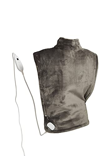 Ambershine 67cmx89cm XXXXXXL King Size Neck & Shoulder Heating Pad with Fast-Heating Technology&6 Temperature Settings, Flannel Electric Heating Pad/Pain Relief for Back/Neck/Shoulders(Dark Gray)