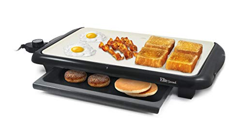 Elite Gourmet Electric Griddle Warming Drawer, Grease Tray, Ceramic Non-Stick Surface, Removable/Adjustable...