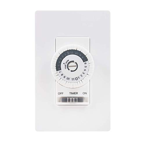 UltraPro Honeywell 24-Hour Mechanical in-Wall, Dial Timer, 30-Minute Intervals, Push Pins, Neutral Wire Required, Override Switch, Single-Pole, Ideal for Lights, LED, CFL, 41092, White
