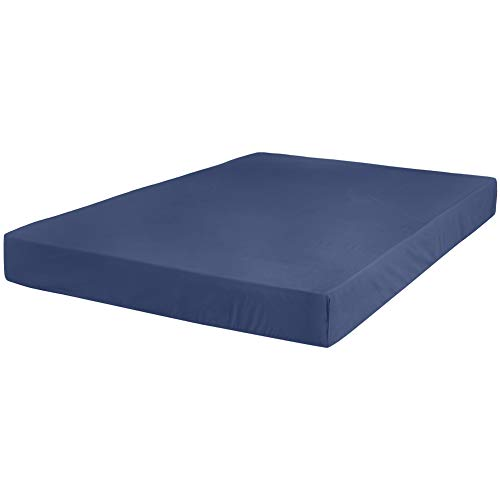 AmazonBasics Ultra-Soft Cotton Fitted Sheet - Full, Midnight Blue