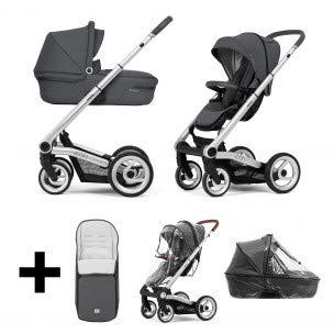 Mutsy Icon Vision Kinderwagen/Buggy Kombi/2 in 1/Set inklusive Fußsack und Regenschutz (titanium grey)