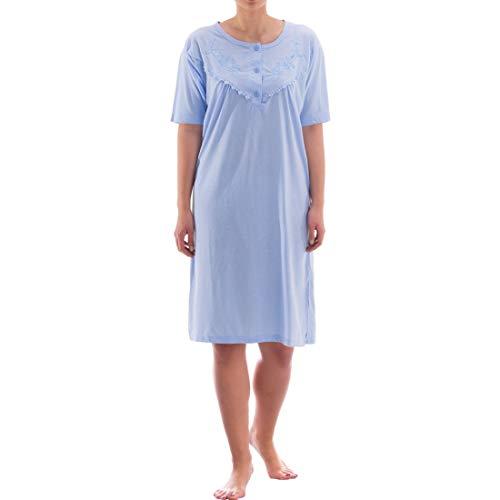 Zeitlos Nachthemd kurzarm einfarbig mit Spitze (XXL, blau)