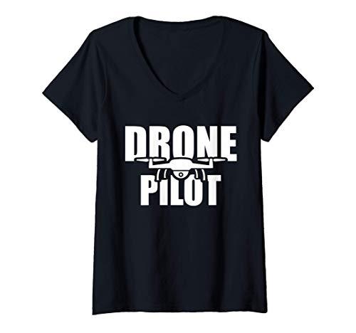 Mujer Piloto de avión teledirigido Camiseta Cuello V