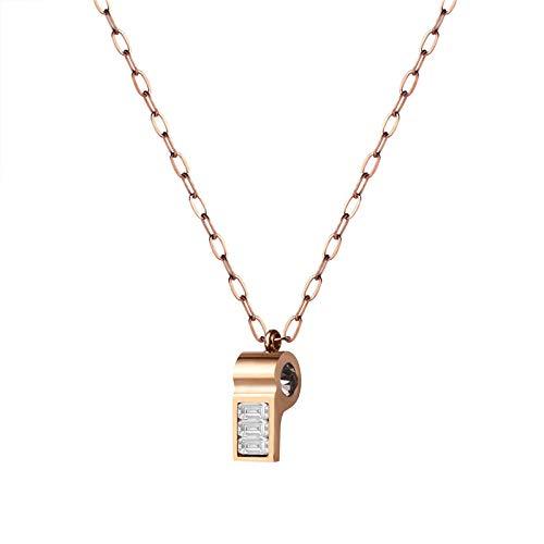 Collar Oro Rosa Moda Diamante Salvaje Silbato Damas Collar pequeño Regalo, Longitud de la Cadena: 40 + 5 cm