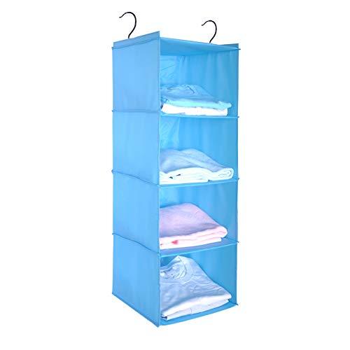 BrilliantJo Organizador para Armario, Estantería Colgante Plegable, Organizador Colgante de Tela para Ropa, 3 Niveles y 2 Ganchos, Azul (Color)(30X30X84CM)