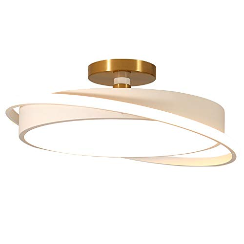 EASTYY Modern Creative Ceiling Light LED Round Ceiling Light The Lampshade Is Movable Around Three-color Dimming Adjustable Lighting Equipment (Color : White, Size : Small)