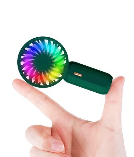 【2021進化版ミニ&大風量】手持ち扇風機 携帯扇風機 ミニ扇風機 手持ち/卓上/首掛け三用 LEDライト付き 3段階風量調節 軽量 静音 USB充電式 持ち運び ハンディ扇風機 ネックストラップ付