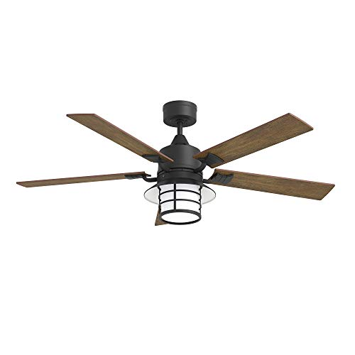 Inlight 52 Inch Indoor Ceiling Fan with LED Light and Wall Control, Home Decor Ceiling Fan, Matte Black Reversible Motor, 5 Blades Low Profile Ceiling fan for Bedroom, Living Room, IN-0703-2-BK