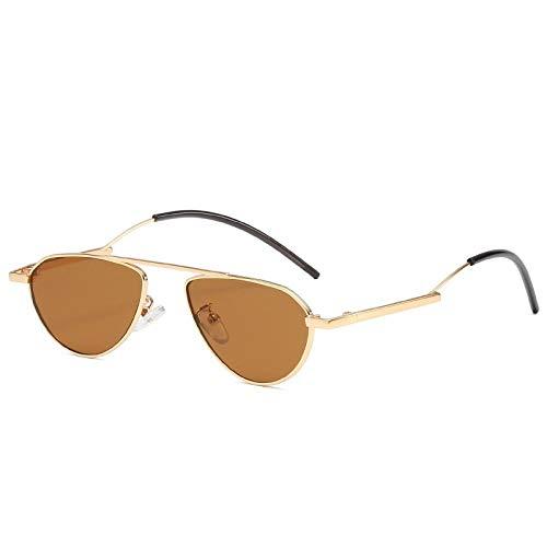 HPPSLT Polarisierte Sonnenbrille Metallrahmen, Ovaler Rahmen Trendiger Kleiner Rahmen Männer und Frauen Sonnenbrille Metall Retro Visier Spiegel-4