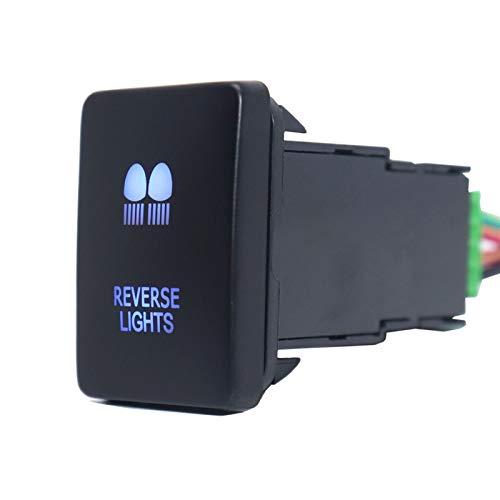 LICHONGUI Auto pulsador Interruptor de Encendido de Apagado 3A 12V Luces Azules para Hilux 2015 / Prado 150 Series 2010-2014 RAV4 con Cable de Conector (Color : Reverse Lights)