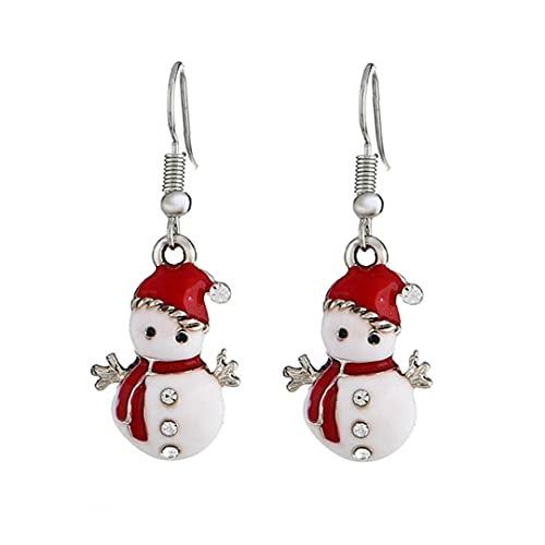 Runfon Pendientes de muñeco de Nieve Creados con Cristales Pendientes de Sabor de Navidad para niñas y Mujeres Joyería 1 par