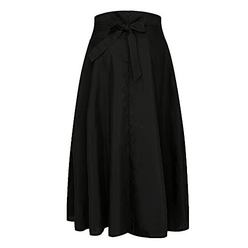 Primavera Otoño Mujer Falda De Cintura Alta Flaco Gran Swing Largo Casual Plisado