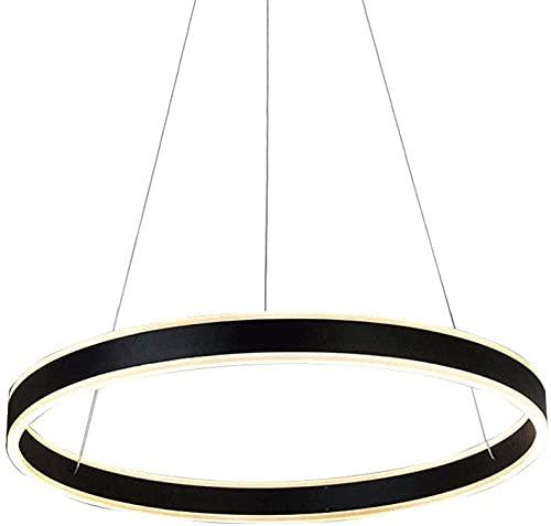 Anillo LED Colgante Luz Altura Luz Ajustable Diseño Redondo Colgante Luz Sala Comedor Comedor Negro Moderno Aluminio y Acrílico Lámpara Colgante Luz interior (Color : Luz calida)