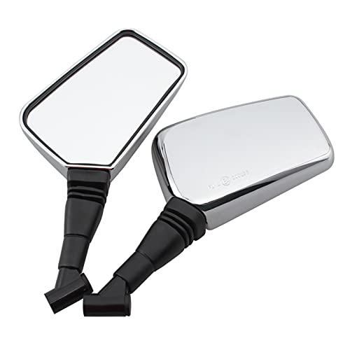 Espejo Lateral de Bicicleta eléctrica para Scooter retrovisor Cromado para Motocicleta, Accesorios de Espejo de Montaje de Manillar de carenado de 8 mm y 10 mm para Universal (Color : Silver)