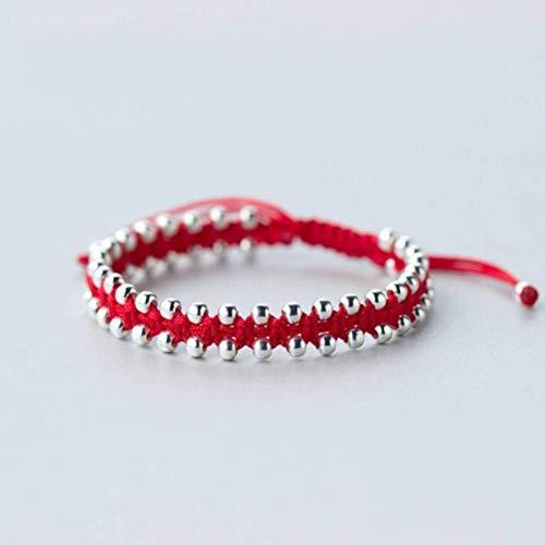WOZUIMEI Pulsera de Hilo Rojo Plateado S925 para Hombres Y Mujeres, Pulsera de Cuentas Redondas de Pareja de Moda, Joyería de Cuerda de Mano Trenzada para ParejaPulsera de hilo rojo