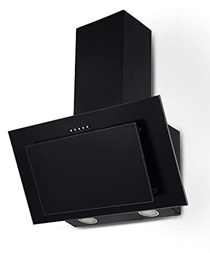 PROKIRA® DH60 MB-01 Wandhaube Kopffreihaube Schräghaube Dunstabzugshaube Schwarz 60 cm LED 350 m³
