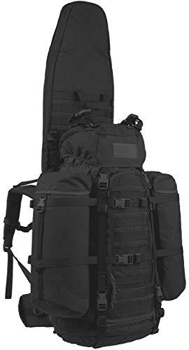 Wisport großer Marschrucksack mit Langwaffentasche + inkl. E-Book | schwarzer Rucksack mit Gewehrfutteral lang | Backpack mit Waffenfutteral schwarz | Waffe | Cordura | ShotPack 65L Black