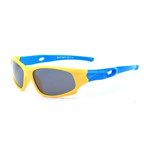 YIWEN Polarisiert Fahrradbrille Kind, Outdoor-Sportarten Sonnenbrille Männer Frauen Mode Brille Zum Radfahren Fahren Tourismus Angeln Laufen Unzerbrechlich Brille,Gelb