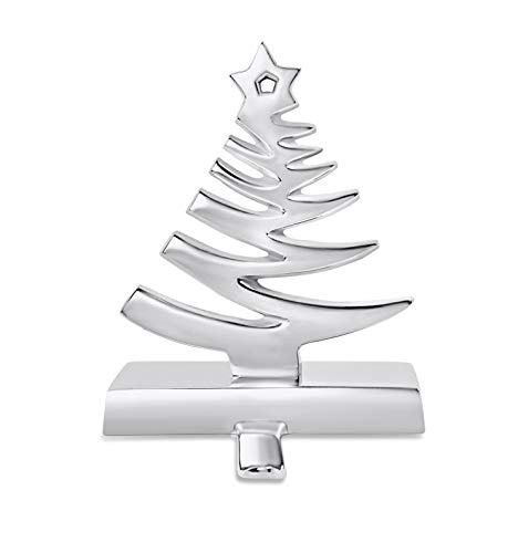 BIRDROCK HOME Whimsical Tree Stocking Holder for Mantle – Holiday Christmas Decorations – Hanger for Stockings – Hooks Fireplace Topper Stairs – Steel Decorative Christmas Tree - Heavy Stand - Silver