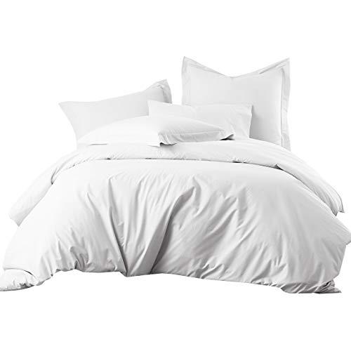Royal Hotel King/Cal-King White Cotton-Blend Wrinkle-Free Duvet Cover 650-Thread-Count Duvet Cover Set