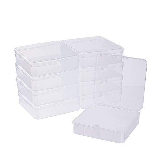 BENECREAT 10 Pack Caja de Almacenamiento de Plástico Transparente con Tapas Abatibles para Pastillas Hierbas Cuentas Pequeñas Tarjetas 9.5x9.5x3cm