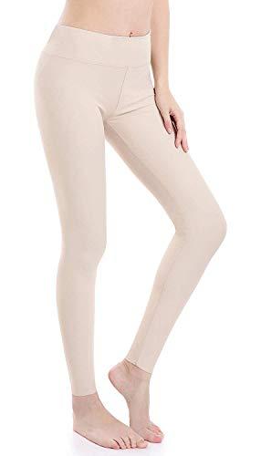 Wirezoll Damen Leggings Blinkdicht Yoga Leggings Fitnesshose, Beige, M