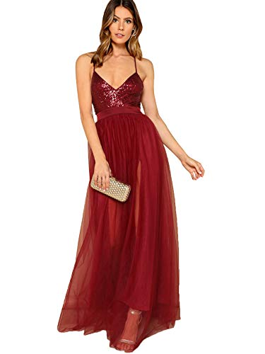 SheIn Women's Sexy Satin Deep V Neck Backless Maxi Party Evening Dress Small Sequin-Burgundy#3