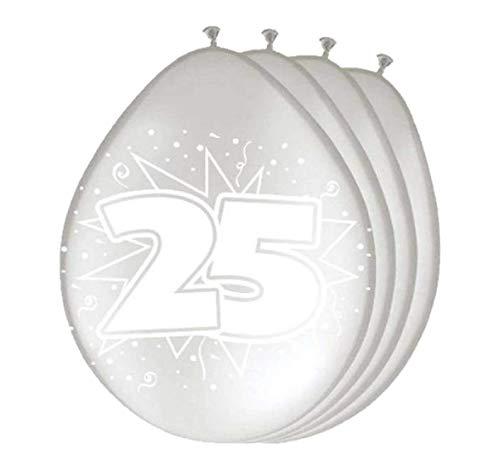 Folat 8Stk. Luftballons 30cm Jubiläum 25 Silber