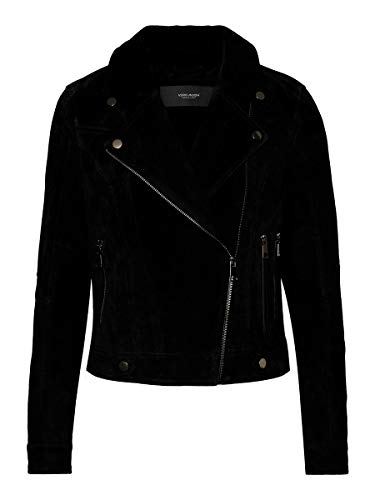 VERO MODA Damen Vmroycesalon Short Suede Jacket Noos Lederjacke, Schwarz, XL EU