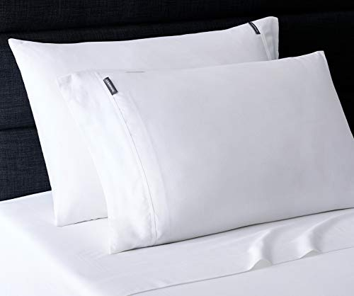 Vera Wang | Repose Wellness Collection | 4-Piece 100% Cotton Sheet Set Bedding, Cool, Crisp, and Lightweight, Machine Washable for Easy Care, King, White