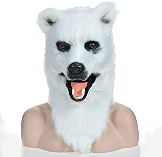 WNGCAR AU White Bear Realistic Animal Moving Masks with Mouth mask Design Factory Party Hall (Color : White)