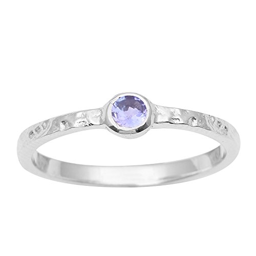 Shine Jewel Perla Redonda tanzanita Piedras Preciosas de Plata de Ley 925 Anillo Martillado Anillo de la joyería (17)