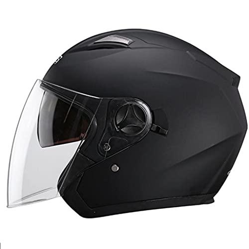 HSFJFDRT Casco De Motocicleta Hombres Y Mujeres,3/4 Abierta Cara Estilo CascoPara Motocicleta Certificado ECE Scooter De Motocicleta con Gafas De Protección UV Y Visera Solar,A-58-60CM