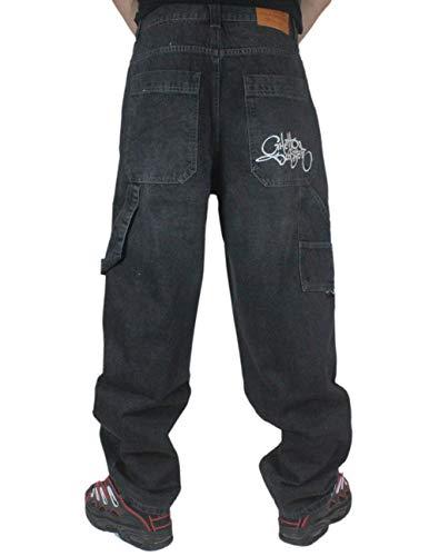 GHETTO BLASTER Pant Baggy Jeans Vast (Blk WHI, 30 USA 44 EU.)