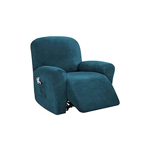 WLVG Stretch Recliner Schonbezug für 1 2 3-Sitzer Liege, Samt Sofabezug für Recliner Möbel Protector für Haustier Kinder-blau-Recliner (4 PCS)