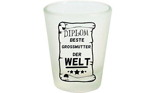 Shirtinstyle Regalo Ideas, Diplom Mejor Abuela Der Welt - Blanco, Schnaps-Glas
