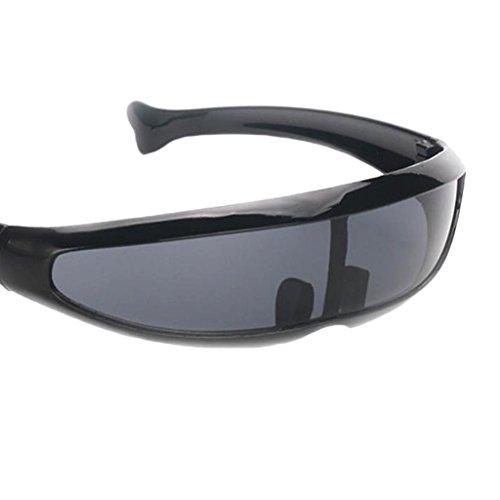 Sharplace 2xFuturistic Narrow Lens Visor Eyewear Gafas de Sol Montura Negra Espejo Negro