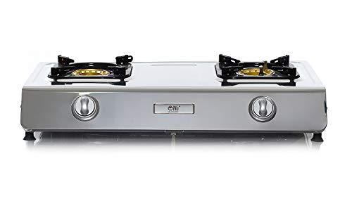 NJ NSD-2 Piano cottura a gas, con 2 bruciatori, superficie in acciaio INOX, fornello a gas GPL per uso in interni 7.2kW