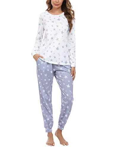 Irevial Pijamas para Mujer,Elegante Pijamas de Estampado de diseño Estrella, Mangas Larga Camiseta y Pantalon Largo 2 Piezas Talla Grande Invierno