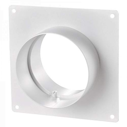 Blauberg UK 4 inch 100 mm Round Plastic Ducting and Fittings for Extractor Fan Ventilation - (Wall Plate with Spigots)