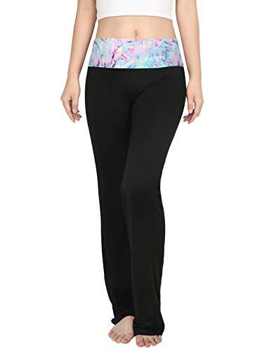 HDE - Leggings de entrenamiento para mujer, color con pliegues en la cintura -  Multi -  X-Large