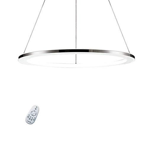 Zhixin-Lamp Modern Ring LED Pendelleuchte Dimmbar Esstisch Hängeleuchte Acryl und Edelstahl Kronleuchter Höhenverstellbar mit Fernbedienung Anhänger für Schlafzimmer Wohnzimmer Esszimmer,60cm~36W
