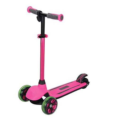 Rugged Racers Kid's Electric 3-Wheel Kick Scooter, Battery Powered Motor with Dual Brake System, PU LED Light Up Wheels, Lean 2 Turn, Ride on Toys for Kids Ages 6+ Pink