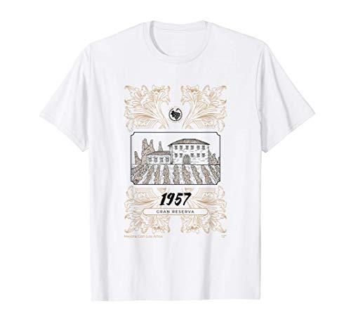 Año de Nacimiento 1957 Etiqueta de Vino Gran Reserva Camiseta