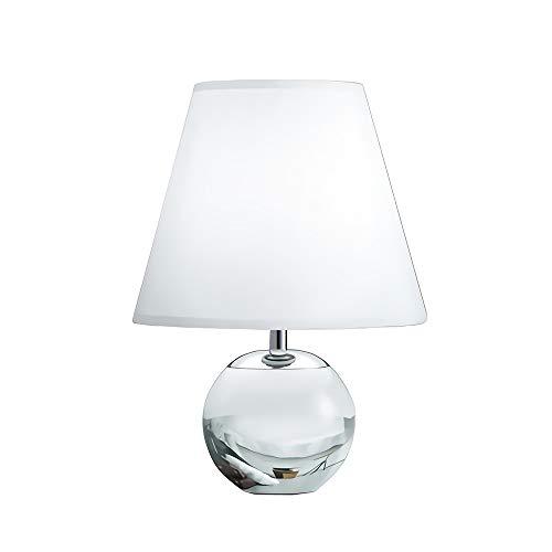 Lámpara Mesa Cristal Minimalista Nórdica Lámpara Mesilla De Noche, Cuerpo De Hierro...