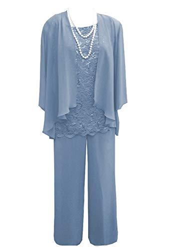 Pretygirl Damen 3 Stück Spitze Chiffon Mutter der Braut Kleid Hose Anzüge mit Jacke Outfit für Hochzeit Bräutigam(US 18 Plus, Himmelblau)