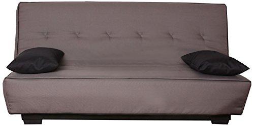 CANAPES TISSUS Milan Banquette Canapé-Lit, Polyester, Gris, 193 x 95 x 101 cm