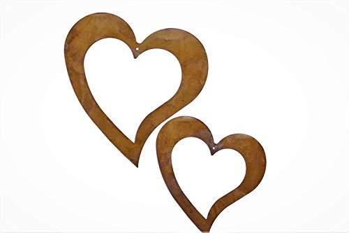 Rostikal | Rost Deko Herz zum hängen aus Eisen Edelrost Patina | 2 x 11 cm und 2 x 15 cm
